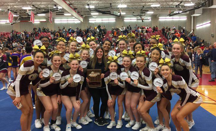 large group of high school cheerleaders