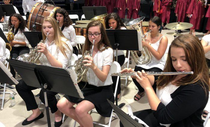 band plays at graduation