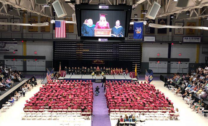 Birdseye view of graduation