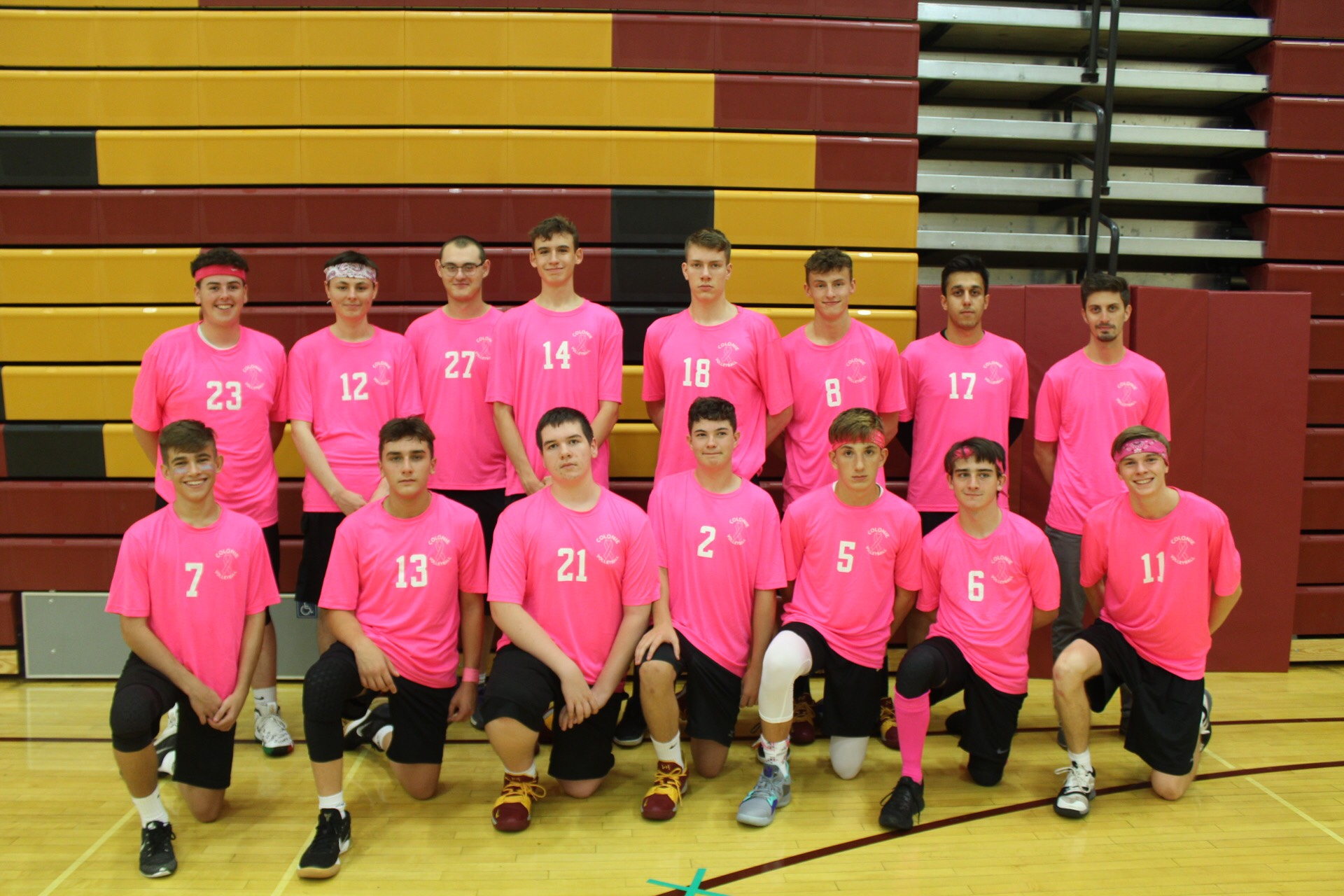 group photo of volleyball players in pink T shirts