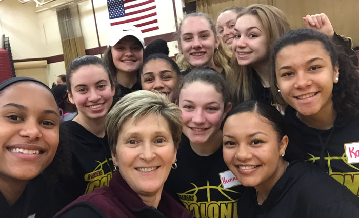 group of basketball girls in a selfie