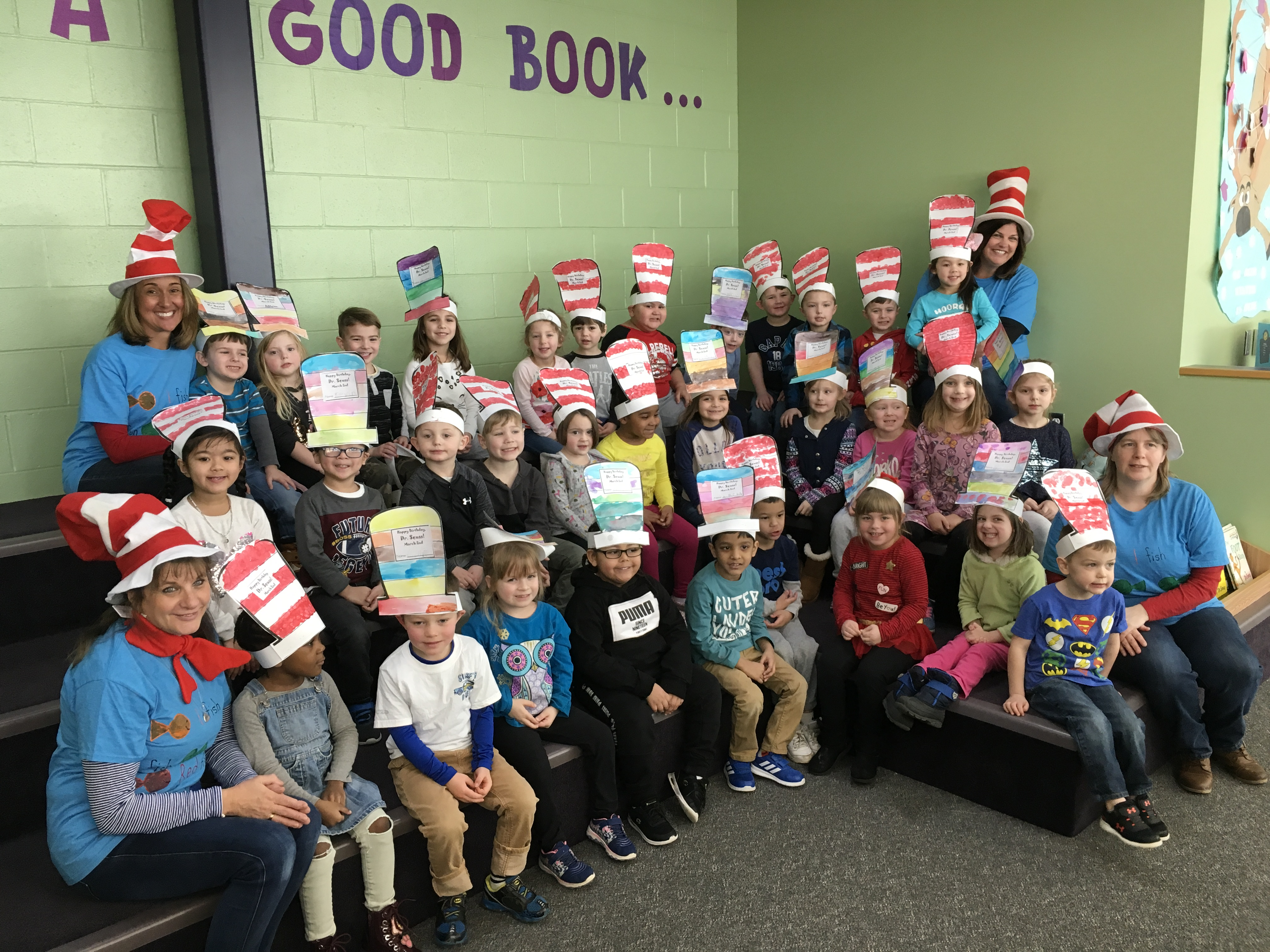group of students dressed in dr. Seuss gear