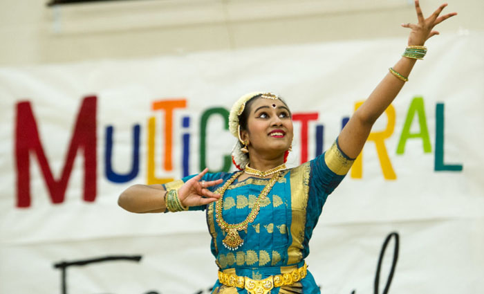 girl dances in Indian costume
