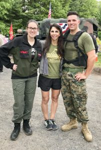 Marine and two women