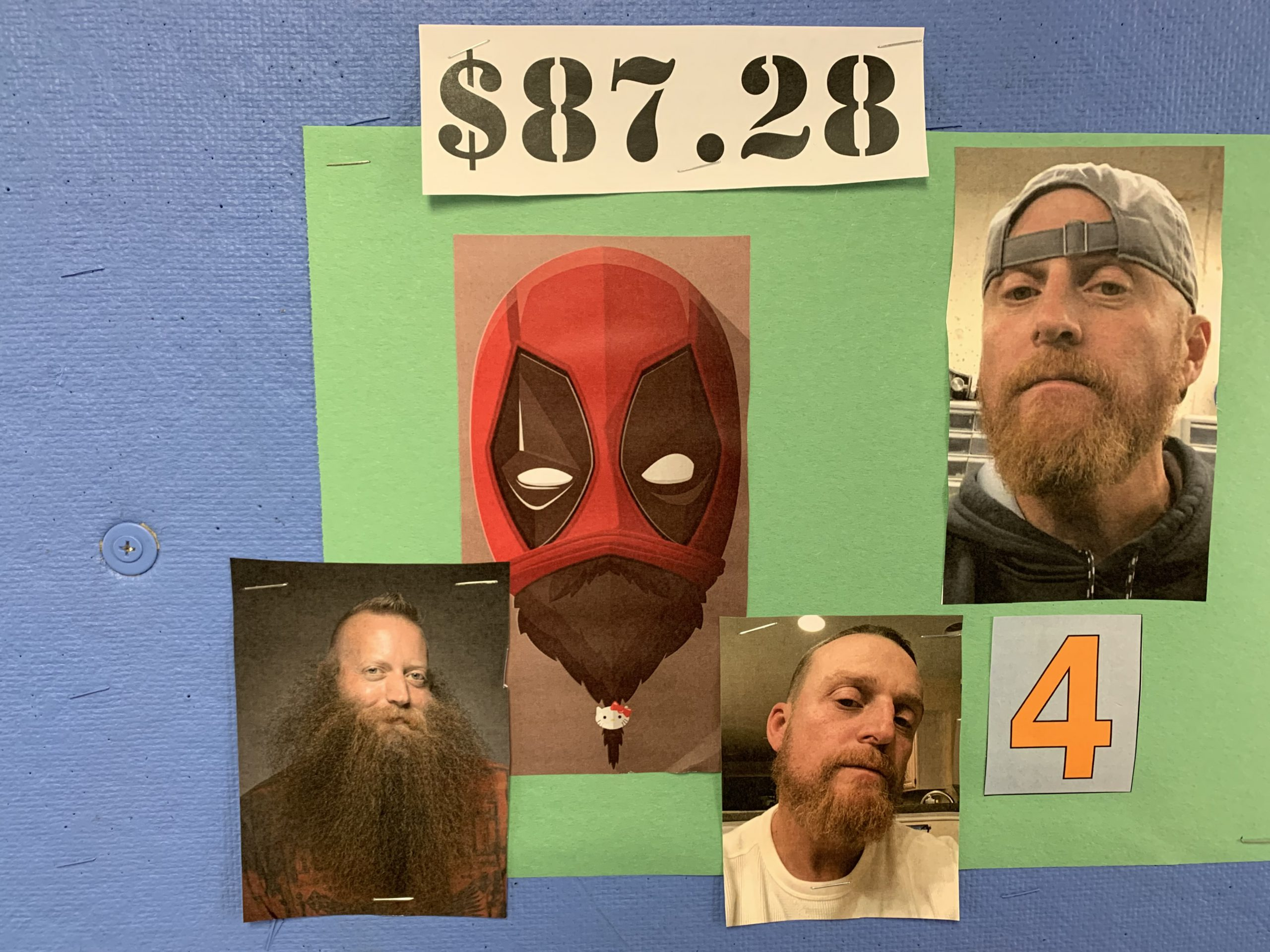 bulletin board with pictures of man growing a beard