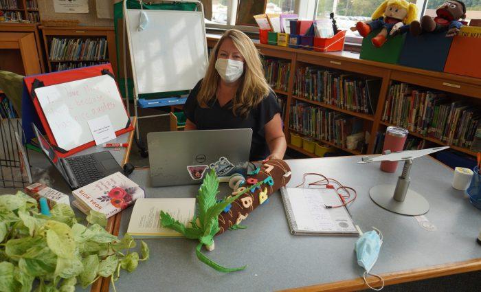 teacher set up for virtual learning