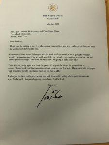 a copy of the letter written by President Biden