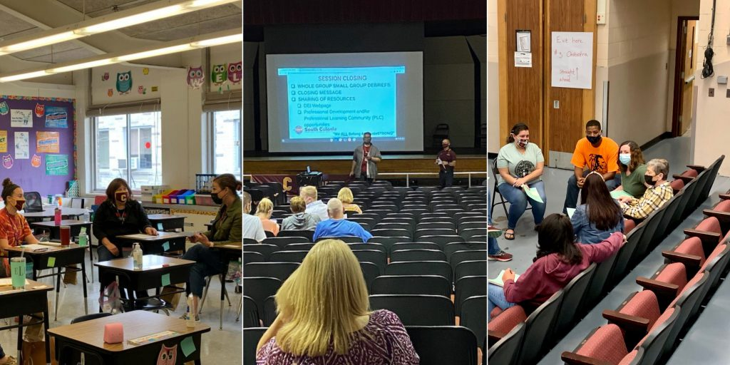 a collage of three images of staff working in small groups in the school setting.